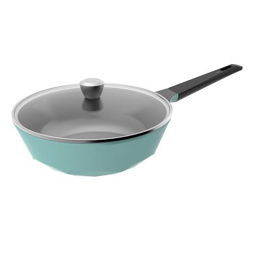 【NEOFLAM】CARAT系列陶瓷不沾炒鍋(30cm_Tiffany藍_強化玻璃蓋)