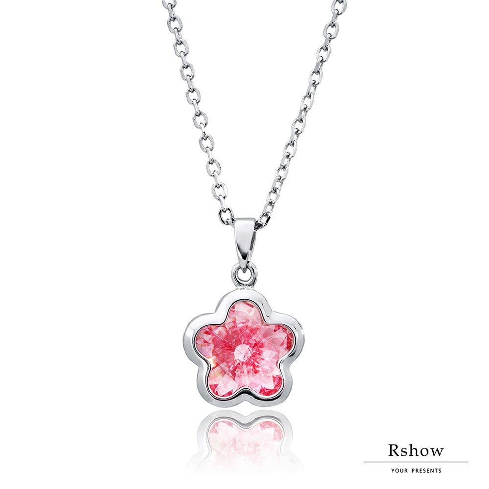 Rshow S925純銀 櫻花粉晶 施華洛世奇元素水晶 小花項鍊 0
