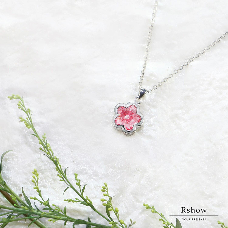 Rshow S925純銀 櫻花粉晶 施華洛世奇元素水晶 小花項鍊 1