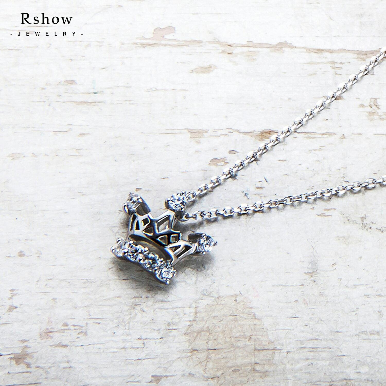 Rshow S925純銀 Cinderella 仙杜瑞拉 小皇冠綴鑽 鎖骨項鍊 0