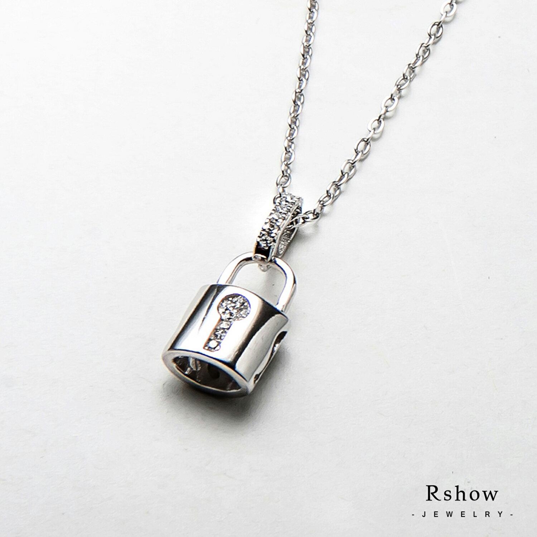 Rshow S925純銀  Lock  Heart 銀色小鎖頭 微鑲項鍊 0
