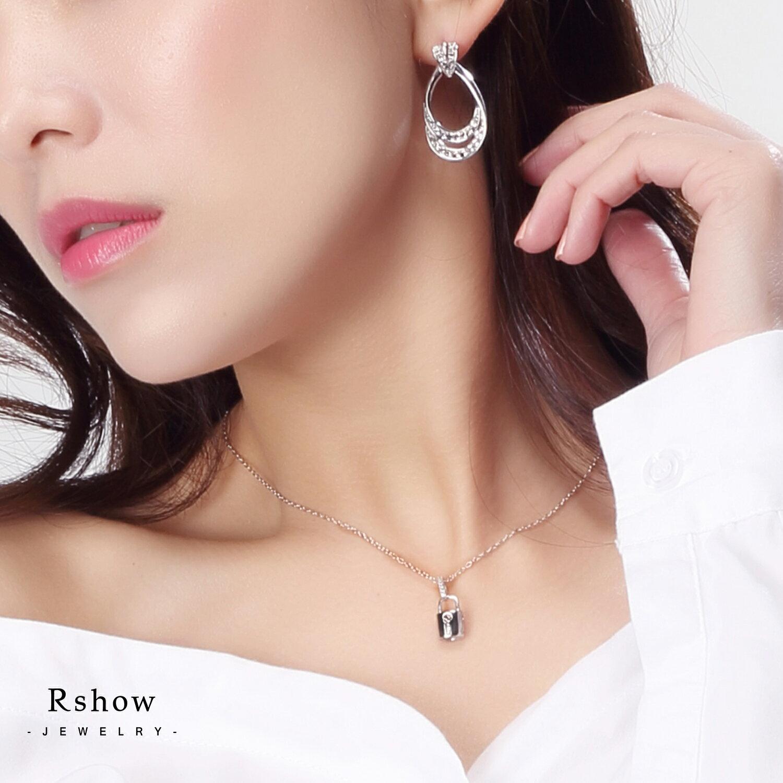 Rshow S925純銀  Lock  Heart 銀色小鎖頭 微鑲項鍊 1