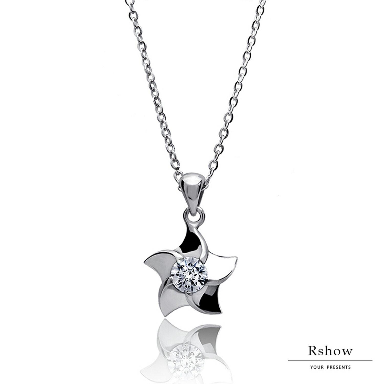Rshow S925純銀  銀色秘境 海之星鑲鑽項鍊 0