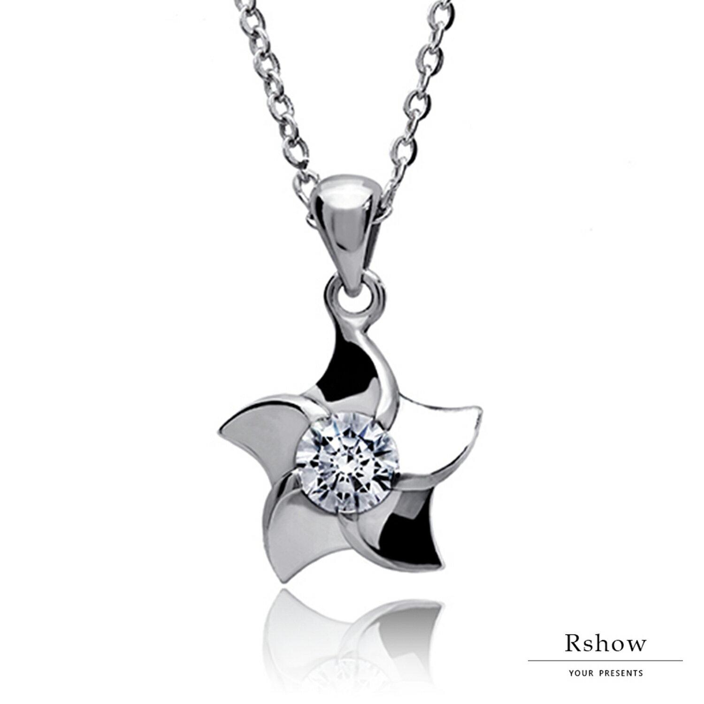 Rshow S925純銀  銀色秘境 海之星鑲鑽項鍊 1