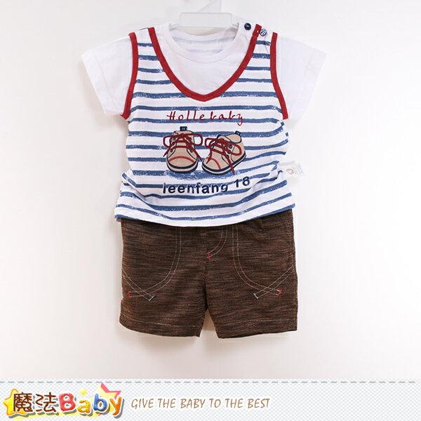 男童裝 專櫃款男寶寶外出短袖套裝 魔法Baby~k50481