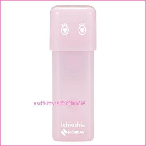asdfkitty可愛家☆NICHIBAN淡粉色印章式雙面膠帶-不需剪刀.輕鬆黏貼-做美勞.記帳-日本製