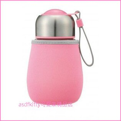 asdfkitty可愛家☆內海產業玻璃瓶冷水壺-附保護套-粉紅色-可手提-日本正版商品