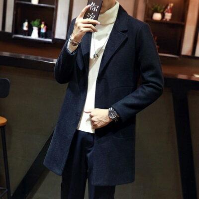 ★毛呢大衣中長版外套-翻領純色單排扣休閒男外套4色73qc5【獨家進口】【米蘭精品】