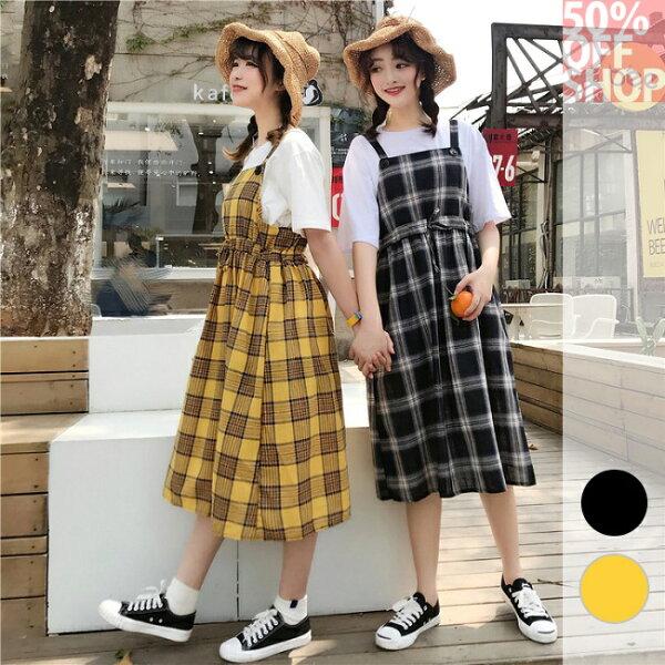 50%OFFSHOP格子背帶裙寬鬆韓版復古學院風百搭長款連衣裙(2色)【G036008C】