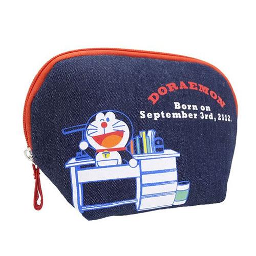 時光機抽屜款【日本進口正版】哆啦a夢 DORAEMON 牛仔 化妝包 收納包 筆袋 小叮噹 - 418298