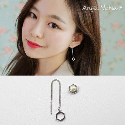 925純銀耳環~天然淡水珍珠六角不對稱流蘇耳線~耳釘耳針耳飾銀飾~RA0510~