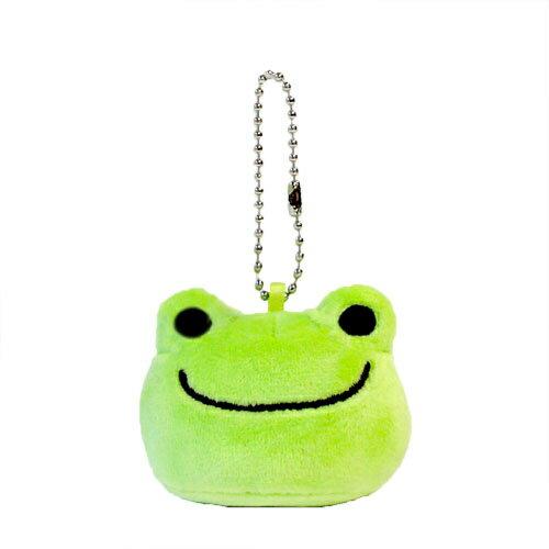 【日本進口正版】青蛙王子 Pickles the frog 大頭造型 絨毛 吊飾 - 100214