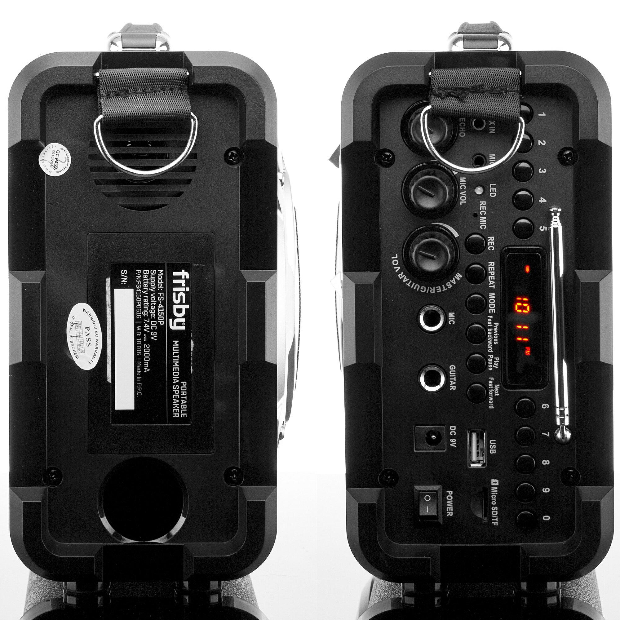 Frisby FS-4150P Bluetooth Karaoke Hi-Fi PA Portable Rechargeable Multimedia Speaker System w/ Mics 5