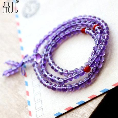紫水晶108佛珠手鏈 紫晶 繞三圈