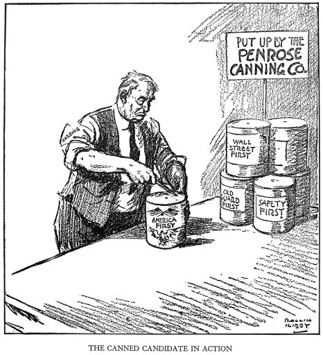 Warren G Harding 1920 N(1865-1923) 29Th President Of The United States The Canned Candidate In Action Cartoon By Rollin Kirby In The New York World 1 July 1920 On HardingS America First Speech Of 29 J 7bcea4e20d6e098054b45d9e1a4a4711
