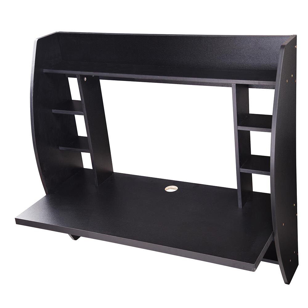 Wall Mounted Floating Computer Desk with Storage Shelves Laptop Home Office Furniture Work Black 3