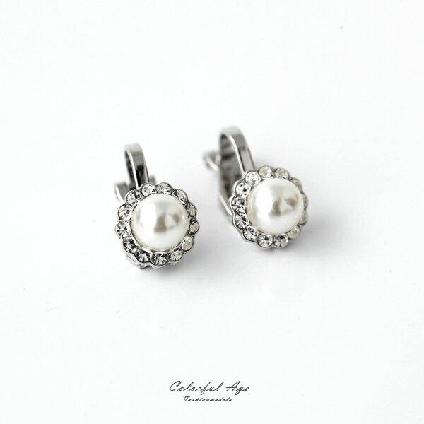 夾式耳環 花朵水鑽珍珠耳夾 柒彩年代【ND374】一對
