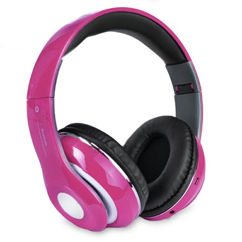 Bluetooth Wireless Headphones with Built In FM Tuner, Memory Card Slot and Mic - Pink 0