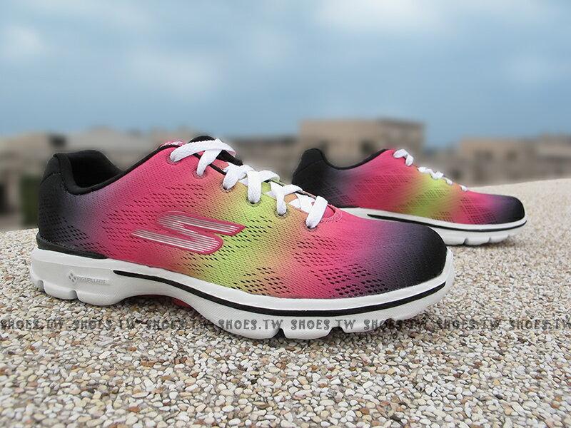Shoestw【14032BKMT】SKECHERS 健走鞋 GO WALK3 瑜珈鞋墊 黑桃黃漸層 減壓避震 彩虹