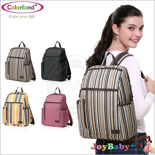 媽媽包/後背包/電腦包/Colorland 條紋輕量多功能多收納夾層媽咪包【JoyBaby】