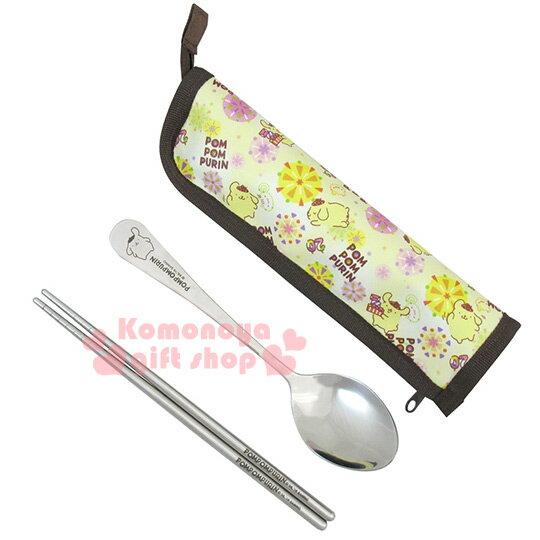 〔小禮堂〕布丁狗 不銹鋼匙筷餐具組《黃.20週年紀念.PN-8237》附布質收納套