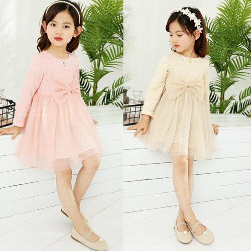 蕾絲大蝴蝶結紗裙洋裝童裝婚宴喜宴宴會花童洋裝