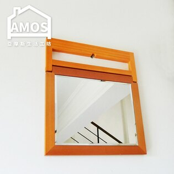 Amos 亞摩斯生活工坊:立鏡桌上鏡化妝鏡【MBA001】古典佳人桌上木框立鏡Amos