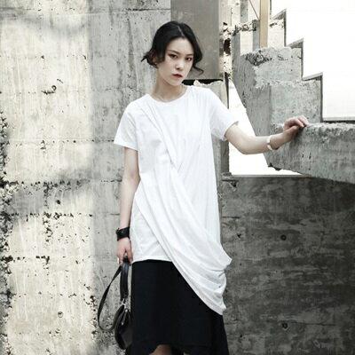 短袖T恤中長款-時尚不規則設計純色女上衣2色73sl16【獨家進口】【米蘭精品】
