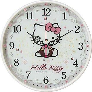 【真愛日本】14022600004 晶鑽圓形壁鐘-珍珠白 三麗鷗 Hello Kitty 凱蒂貓 時鐘 掛鐘 正品