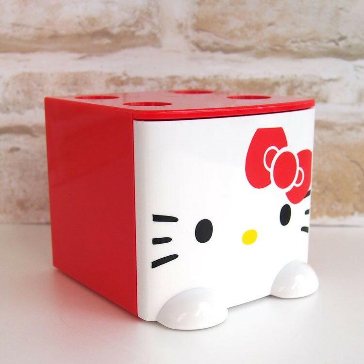 X射線【C424312】Hello Kitty 積木式迷你收納盒-紅,雜物籃/收納盒/書架/雜誌架/桌上收納/筆筒