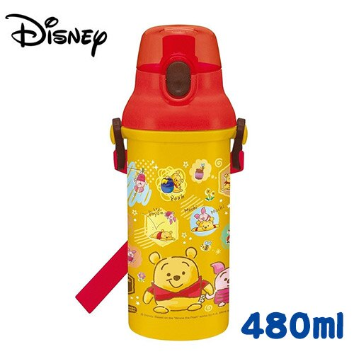 【日本正版】小熊維尼 直飲式水壺 日本製 彈蓋頭型 水壺 480ML 附背帶 迪士尼 Disney - 390920