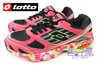 【巷子屋】義大利第一品牌-LOTTO樂得 女款碟型能量彈力膠城市夜行運動慢跑鞋 [2503] 螢光桃 超值價$790