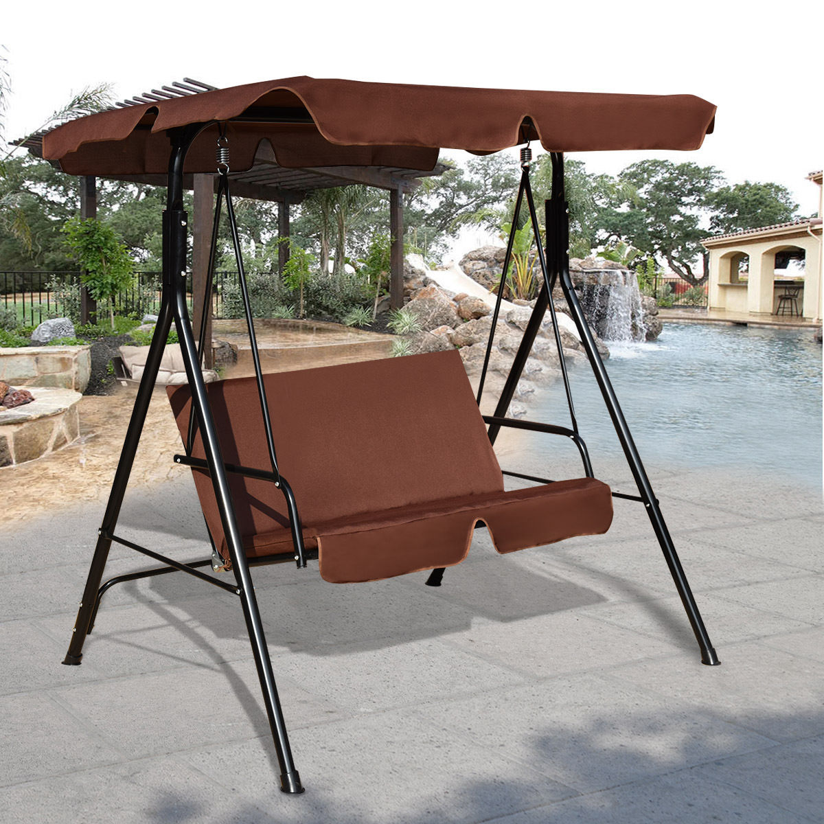 patio larch weston dp hammock wood w stand canvas amazon home com kitchen