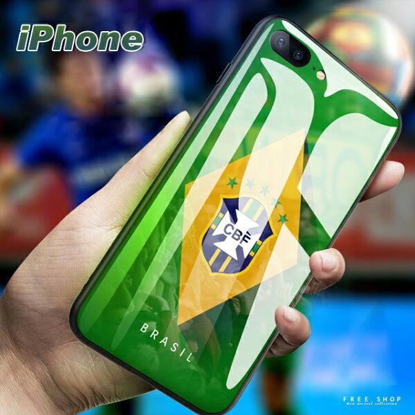 FreeShop蘋果IPHONEX876sPlus系列世界杯足球隊徽鋼化玻璃手機殼世足手機殼【QABG30010】