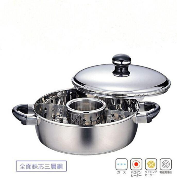 【日本Miyaco】Objet系列18-10不鏽鋼附蓋深型雙耳鍋-22cm(電磁爐可用)