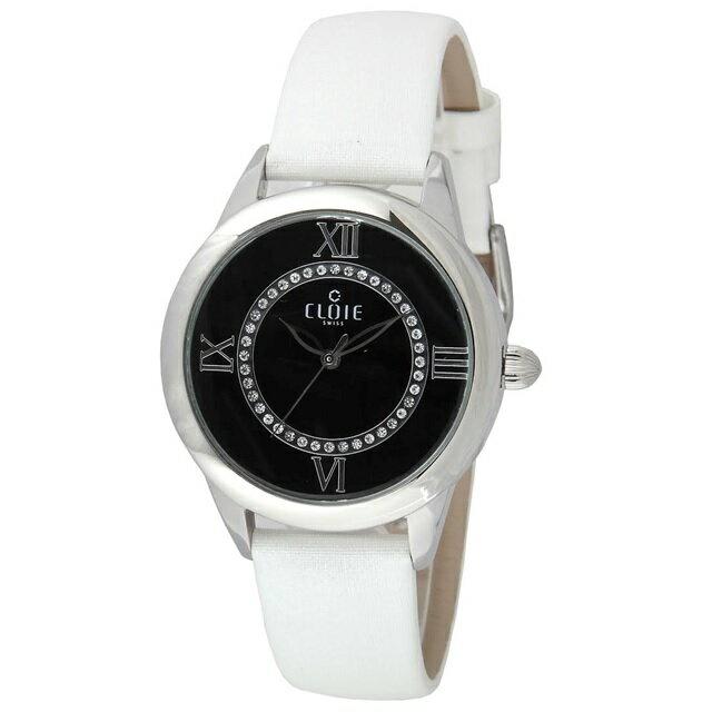 CLOIE 圓形水鑽腕錶 黑色  銀錶帶 37mm CL10015~WA04