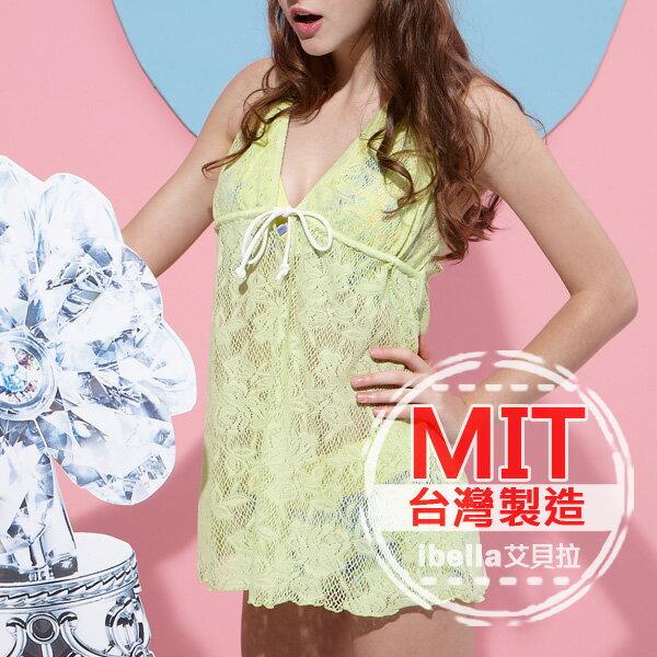 沙灘罩衫 MIT台灣製造專櫃品牌蕾絲掛脖背心比基尼外罩衫泳衣 預購【36-66-88250】ibella 艾貝拉