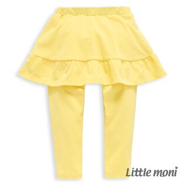 Littlemoni甜美假兩件荷葉裙合身褲-黃色