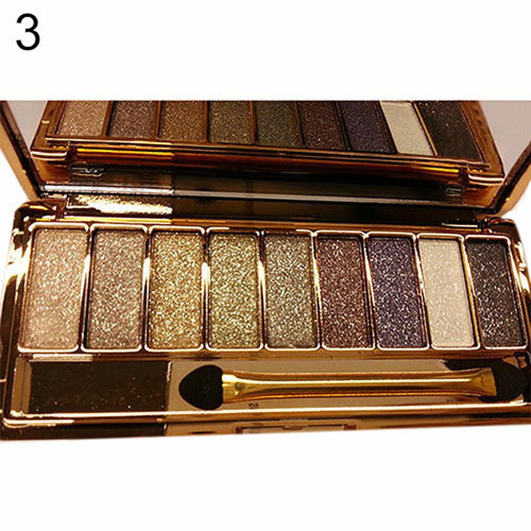 9 colors Waterproof Makeup Glitter Eyeshadow Palette with Brush 4