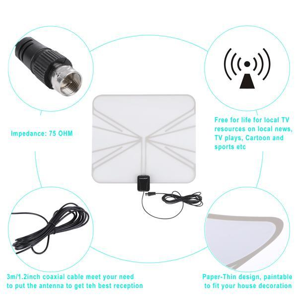 Satellite Signal Digital Indoor Television Antenna Falt Wave Box HD UHF/VHF/FM 4