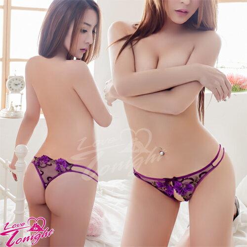 蕾絲性感女內褲丁字褲低腰褲開襠褲-T5168-紫【情趣饗宴】