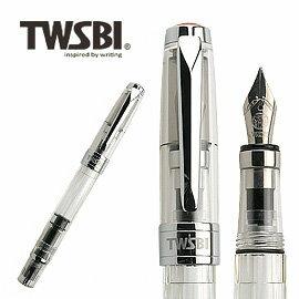 臺灣 TWSBI 三文堂 鑽石 580 透明筆桿活塞上墨鋼筆~Stub 1.1   支