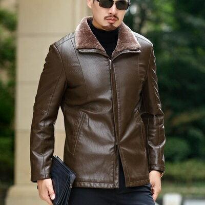 ★皮衣夾克外套-皮毛一體純色冬季男夾克2色73pn21【獨家進口】【米蘭精品】 2