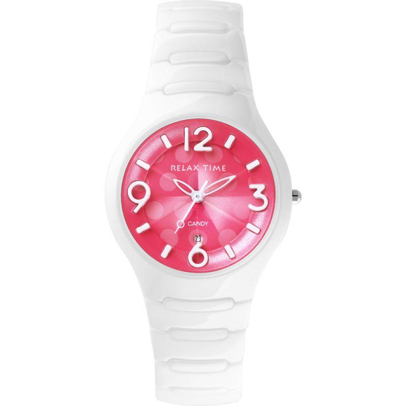 Relax Time RT~26~30點點系列蜜桃陶瓷腕錶 桃紅面36.6mm ~  好康