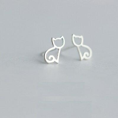 925純銀耳環耳針式耳飾~可愛小貓咪氣質簡約情人節生日 女飾品73dr4~ ~~米蘭 ~