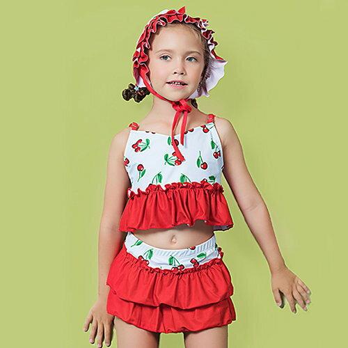 BOBI:兒童泳裝水果層層抓皺褲裙萌兩件套細肩帶兒童泳裝【SFC2042】BOBI1214