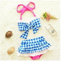 比基尼/泳裝/泳衣到兒童嬰兒格子可愛比基尼分體裙式游泳衣寶寶女童泳裝+泳帽-藍格色