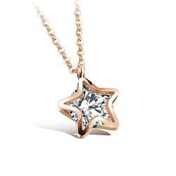 【5折超值價】  情人節禮物韓版最新流行款星星鑲鑽潮流設計項鍊