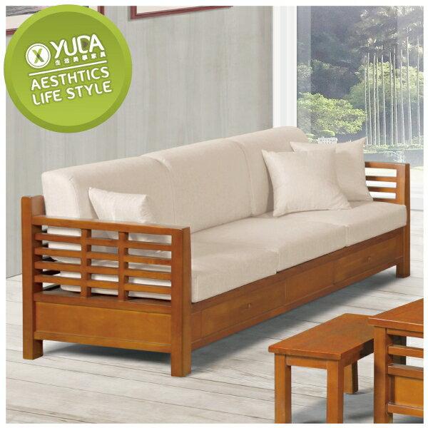 沙發【YUDA】中式 格林 柚木 亞麻 組椅 實木 二抽 三人 布沙發 J8F 161-3