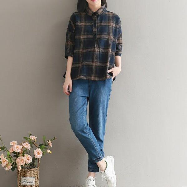 短袖襯衫格紋娃娃感半袖襯衫2色【S-18-0018】LYNNSHOP